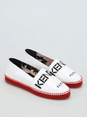 Kenzo: espadrilles online - Embroidered logo patent espadrilles
