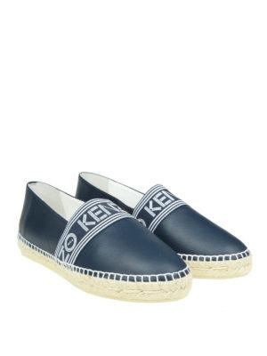 Kenzo: espadrilles online - Logo band blue leather espadrilles