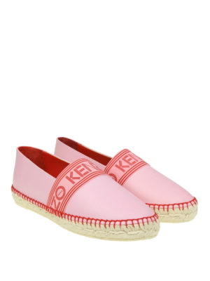 Kenzo: espadrilles online - Logo band pink leather espadrilles