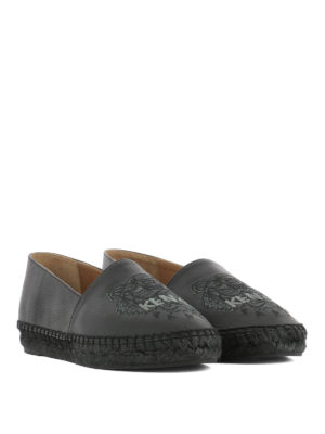 Kenzo: espadrilles online - Tiger black leather espadrilles