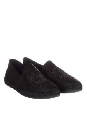 Kenzo: espadrilles online - Tiger leather slip-on espadrilles