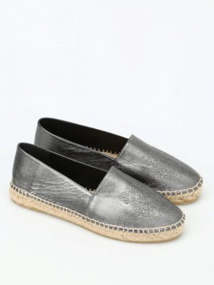 Kenzo: espadrilles online - Tiger metallic leather espadrilles