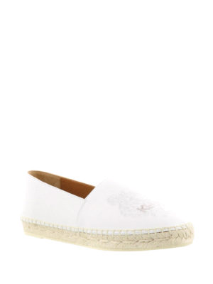 Kenzo: espadrilles online - Tiger white leather espadrilles