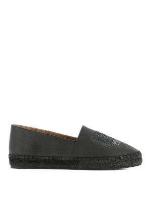 Kenzo: espadrilles - Tiger black leather espadrilles