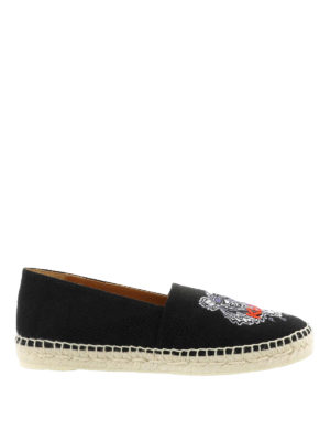 Kenzo: espadrilles - Tiger embroidered black espadrilles