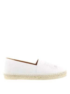 Kenzo: espadrilles - Tiger white leather espadrilles