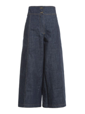 Kenzo: flared jeans - Denim high waisted culottes