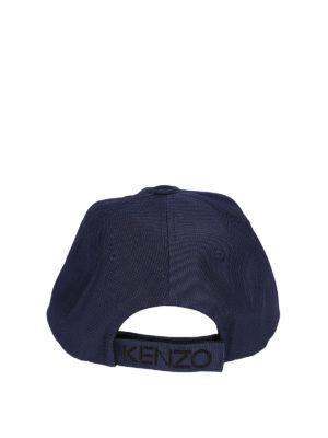 Kenzo: hats & caps online - Tiger blue canvas baseball cap