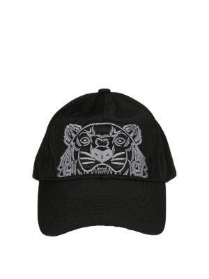Kenzo: hats & caps - Tiger black canvas baseball cap
