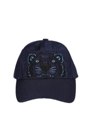 Kenzo: hats & caps - Tiger blue canvas baseball cap