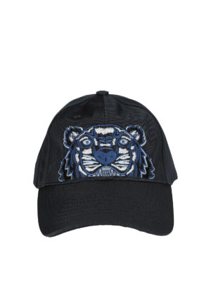 Kenzo: hats & caps - Tiger grey canvas baseball cap