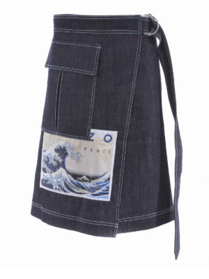 KENZO: gonne al ginocchio  e longuette - Gonna a portafoglio Kanagawa Wave