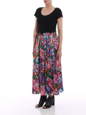 Kenzo: Knee length skirts & Midi online - Paisley print silk skirt
