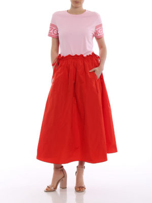 Kenzo: Knee length skirts & Midi online - Solid red satin circle long skirt
