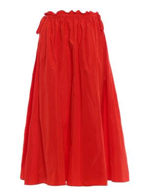 Kenzo: Knee length skirts & Midi - Solid red satin circle long skirt