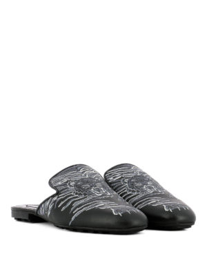 Kenzo: Loafers & Slippers online - Tiger embroidered leather slippers