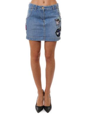 Kenzo: mini skirts online - Patch detail denim mini skirt