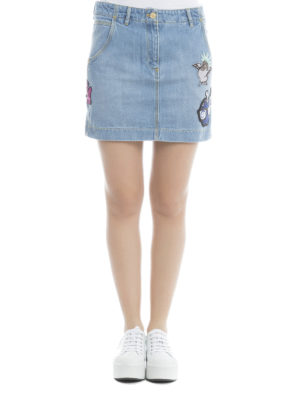 Kenzo: mini skirts online - Patch detail denim mini skirt