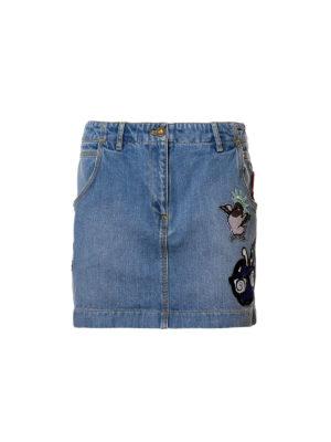 Kenzo: mini skirts - Patch detail denim mini skirt