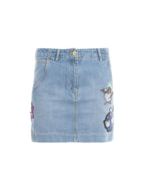 Kenzo: mini skirts - Patch detail denim mini skirt