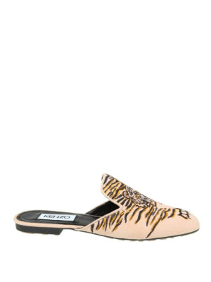 Kenzo: mules shoes - Custer tiger embroidery mules