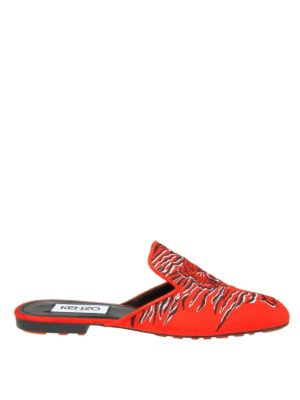 Kenzo: mules shoes - Custer tiger embroidery red mules