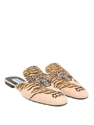 Kenzo: mules shoes online - Custer tiger embroidery mules