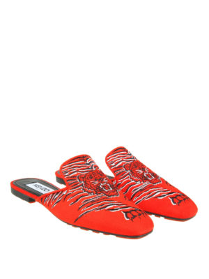Kenzo: mules shoes online - Custer tiger embroidery red mules