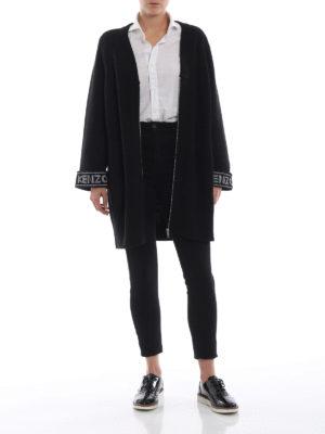 KENZO: cardigan online - Cardigan over nero in misto cotone con logo