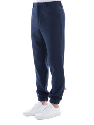 KENZO: pantaloni casual online - Joggers blu con triangolo in pelle