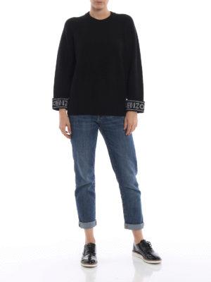 KENZO: maglia collo rotondo online - Girocollo nero in misto cotone con logo