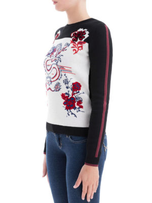 KENZO: maglia collo rotondo online - Girocollo Dragon in jacquard di lana e cotone