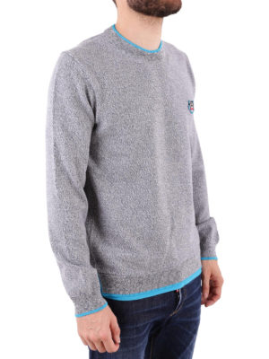 KENZO: maglia collo rotondo online - Pull in lana melange con bordi azzurro fluo