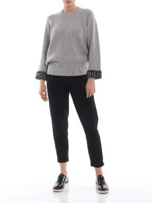 KENZO: maglia collo rotondo online - Girocollo grigio in misto cotone con logo