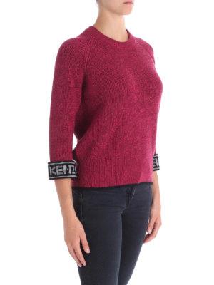 KENZO: maglia collo rotondo online - Maglia girocollo in cotone con logo sui polsi