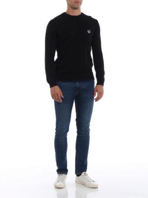 KENZO: maglia collo rotondo online - Girocollo in lana con bordi a contrasto