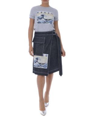 KENZO: gonne al ginocchio  e longuette online - Gonna a portafoglio Kanagawa Wave