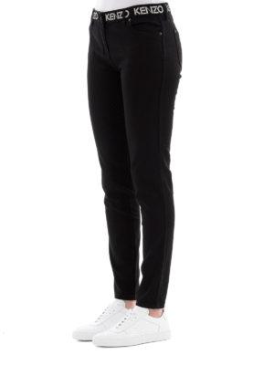 KENZO: jeans skinny online - Jeans slim neri con stampa logo