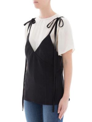 KENZO: t-shirt online - Maglia doppio strato bianca e nera