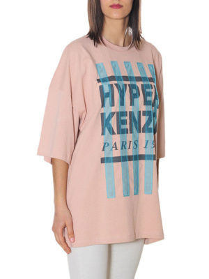 KENZO: t-shirt online - T-shirt con strisce in organza