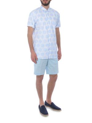 KENZO: pantaloni shorts online - Bermuda in cotone stretch celeste