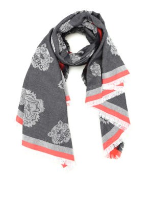 Kenzo: scarves - Multi Tiger Heads grey scarf
