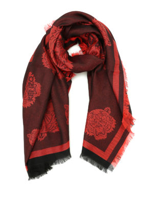 Kenzo: scarves - Multi Tiger Heads red scarf