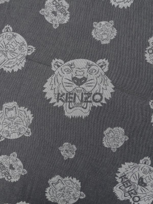 Kenzo: scarves online - Multi Tiger Heads grey scarf