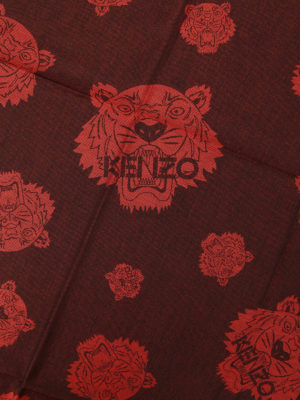 Kenzo: scarves online - Multi Tiger Heads red scarf