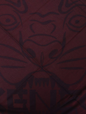 Kenzo: scarves online - Tiger Head burgundy cotton scarf