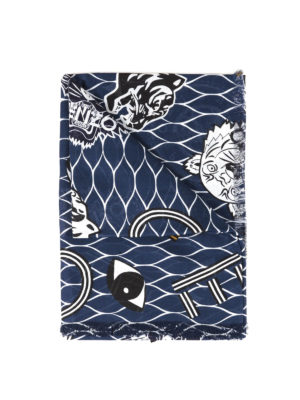 Kenzo: scarves - Printed cotton blend scarf