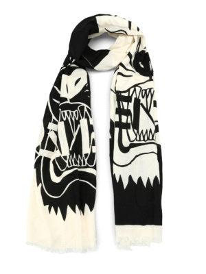 Kenzo: scarves - Tiger Head black scarf