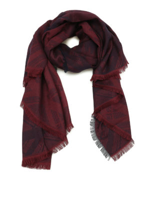 Kenzo: scarves - Tiger Head burgundy cotton scarf