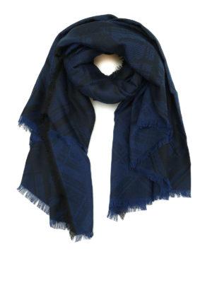 Kenzo: scarves - Tiger Head dark blue cotton scarf